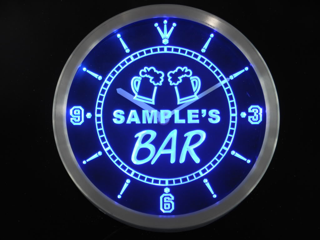 Customized LED Leuchtuhr BAR mit Namen