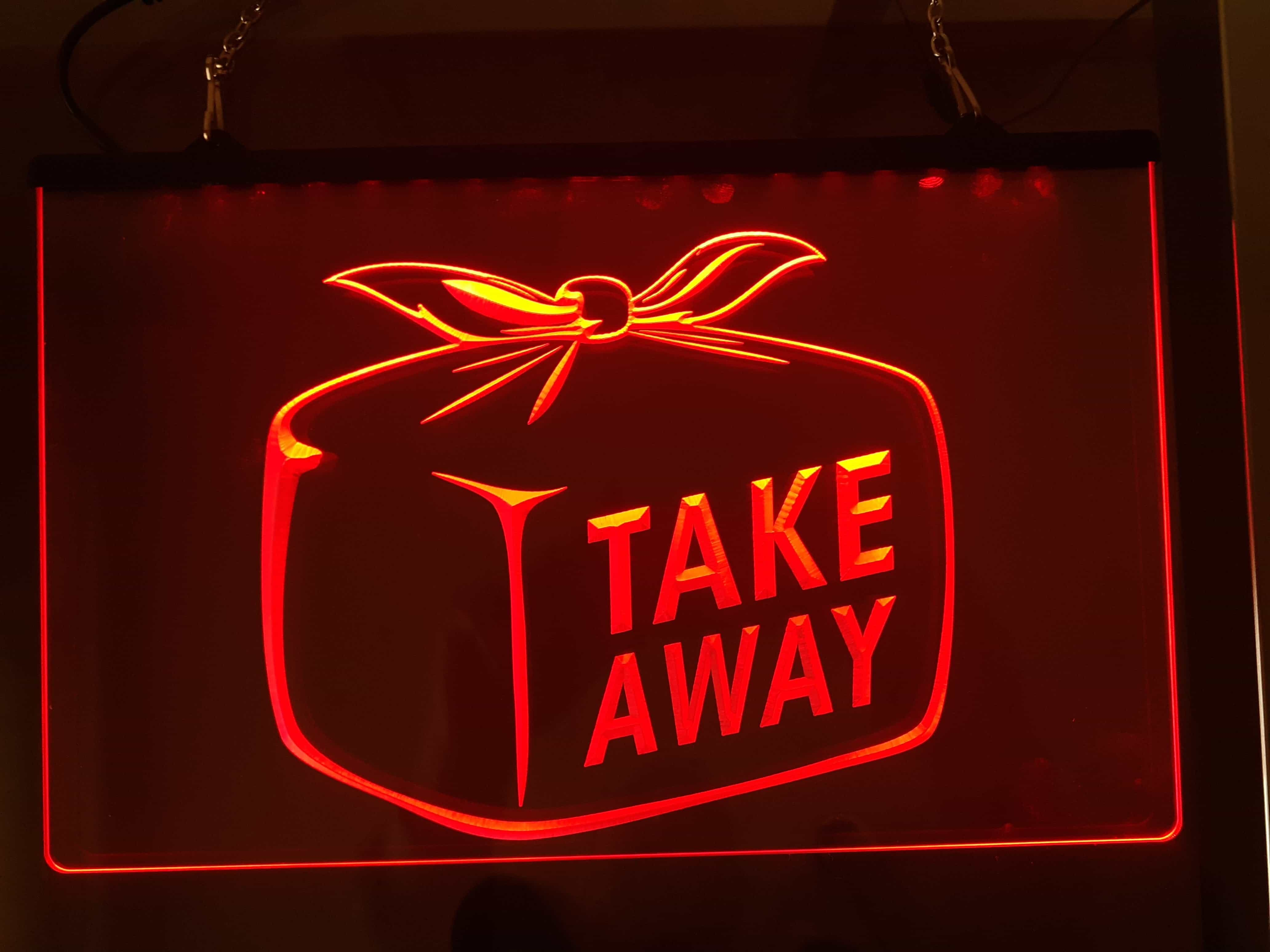 Neon 3D LED Leucht-Schild TAKE AWAY, Leuchtreklame