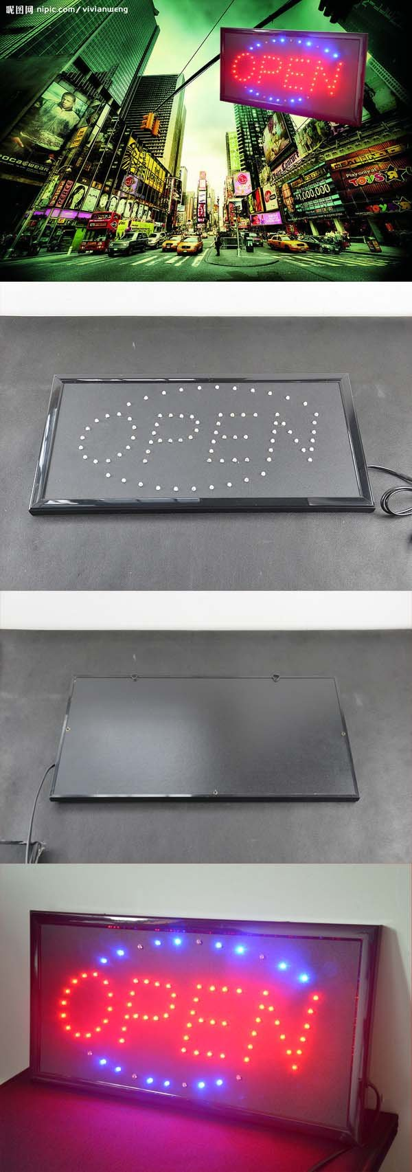 led schild open tradokay. Black Bedroom Furniture Sets. Home Design Ideas