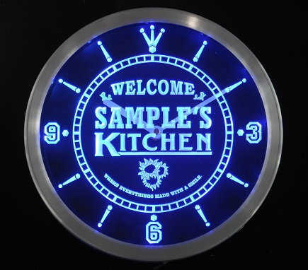 Customized LED Leuchtuhr KITCHEN mit Namen