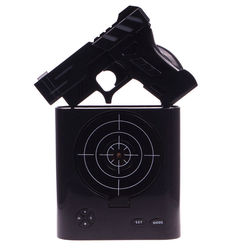shooter lcd wecker shooting gun alarm tradokay. Black Bedroom Furniture Sets. Home Design Ideas